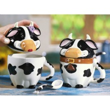 Black &#038; White Cow Ceramic Mugs With Lids &#038; Spoons By Collections Etc